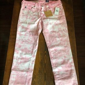 NWT Adriano Goldschmied Pink Tie Dye Pants Stilt